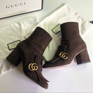 Gucci Authentic Marmont Suede Booties W/ Box 38.5